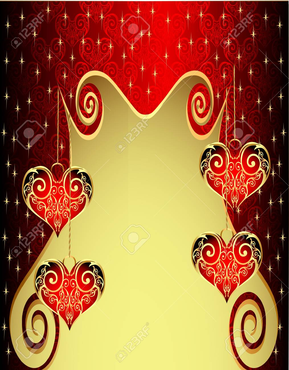illustration pattern background with heart from gild and spiral Stock Vector - 11886224