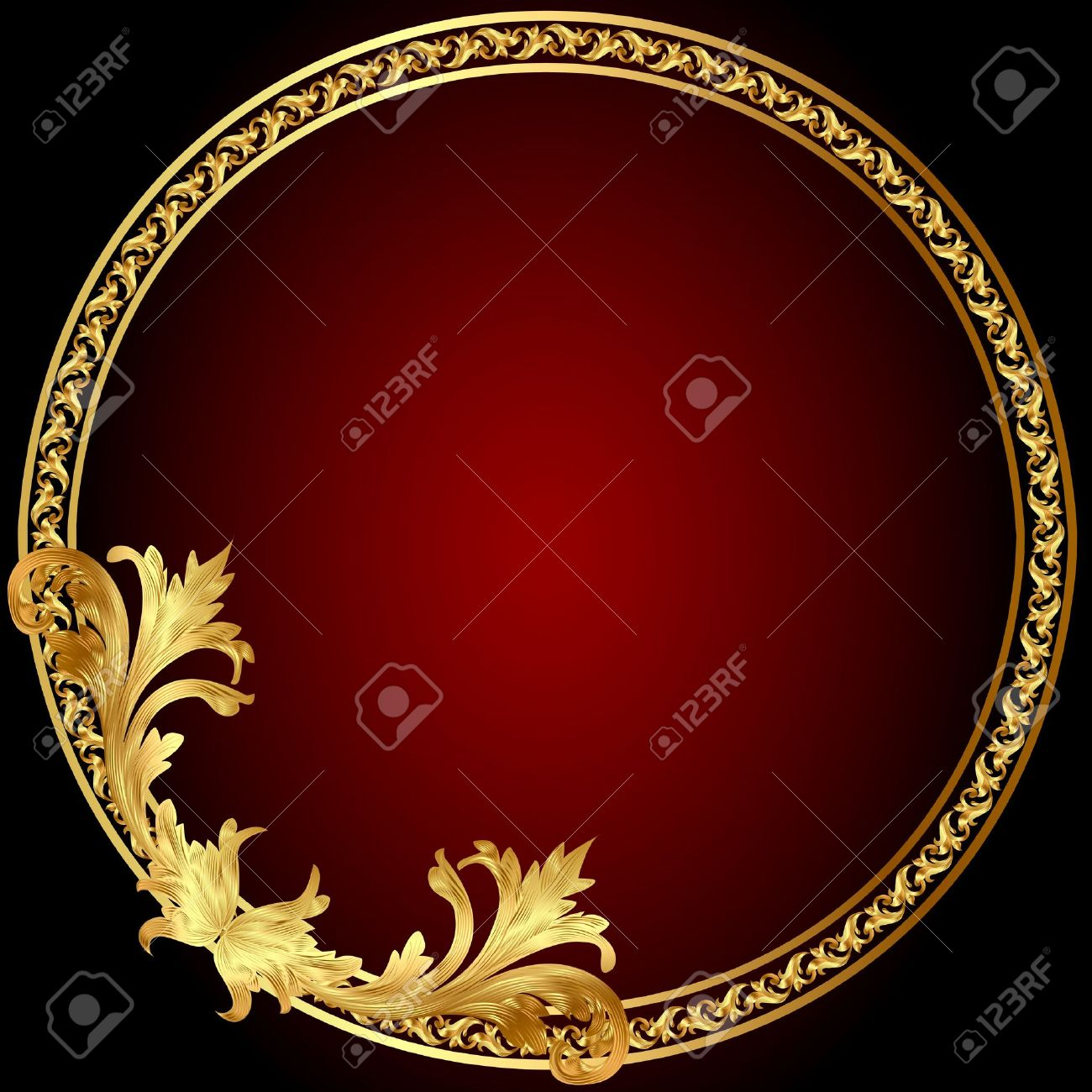 illustration frame with gold(en) pattern on circle Stock Vector - 11929495