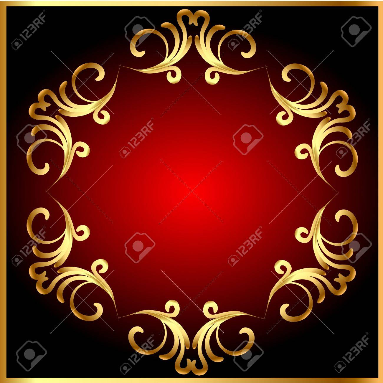 illustration frame background with gold(en) pattern on circle Stock Vector - 11929488