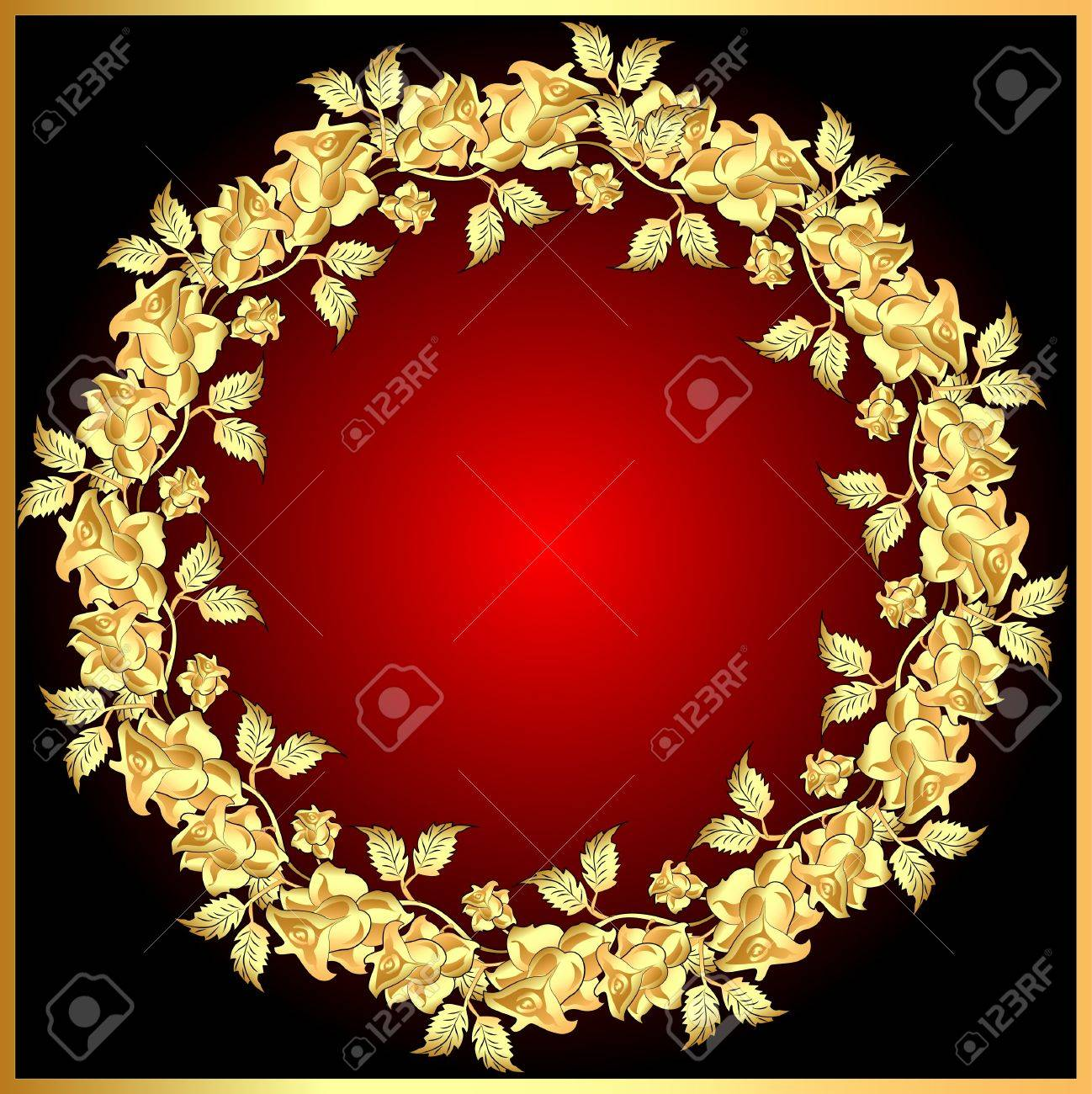 illustration background with gold(en) rose on circle Stock Vector - 12076812