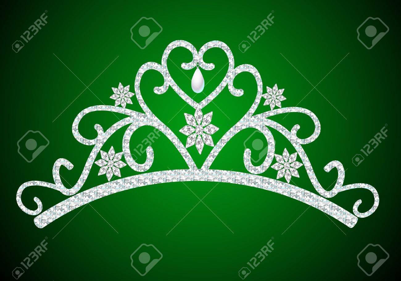 illustration diadem feminine wedding with pearl on green Stock Vector - 12488673