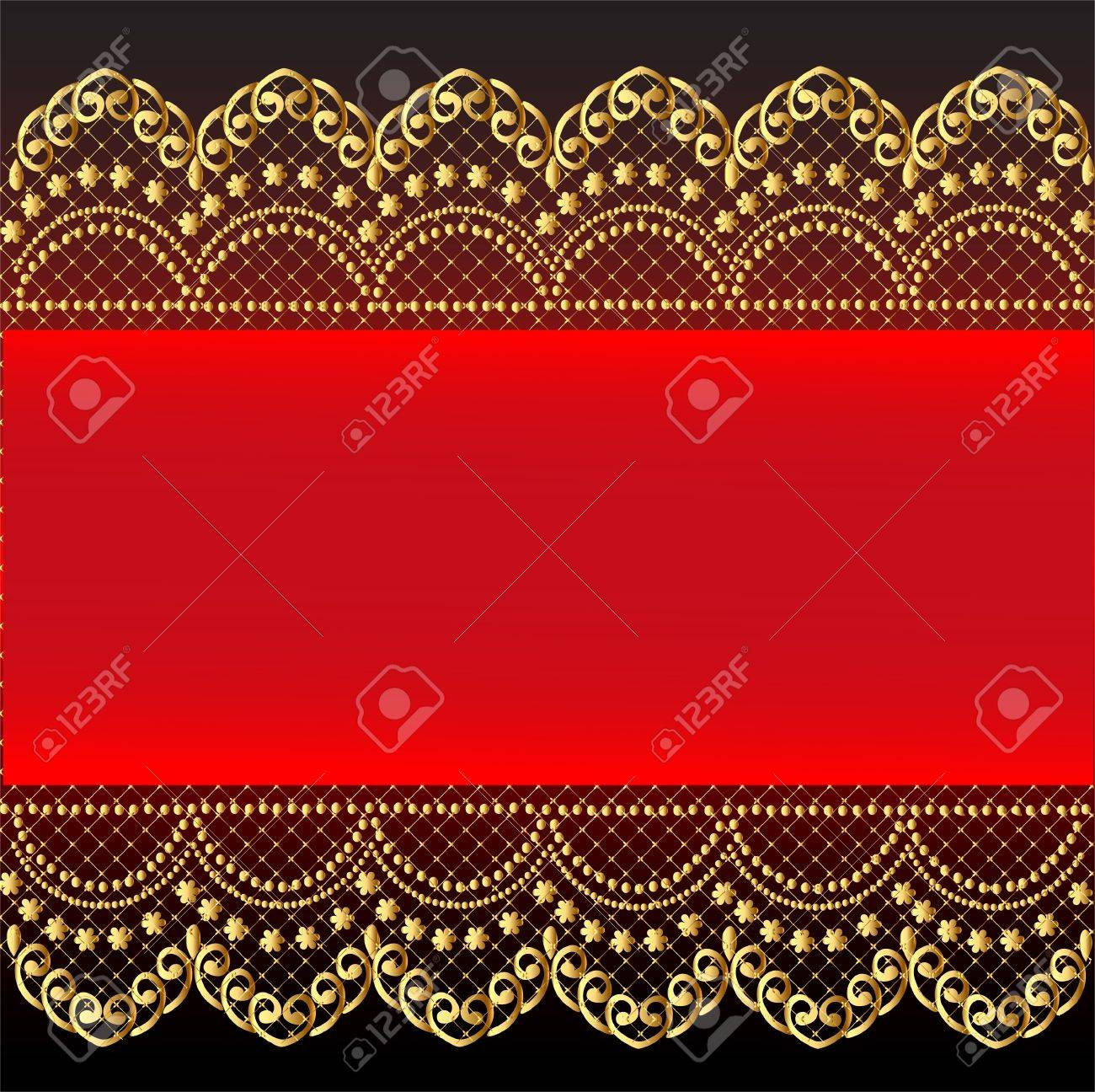 illustration red background with gold(en) pattern and net Stock Vector - 12822396