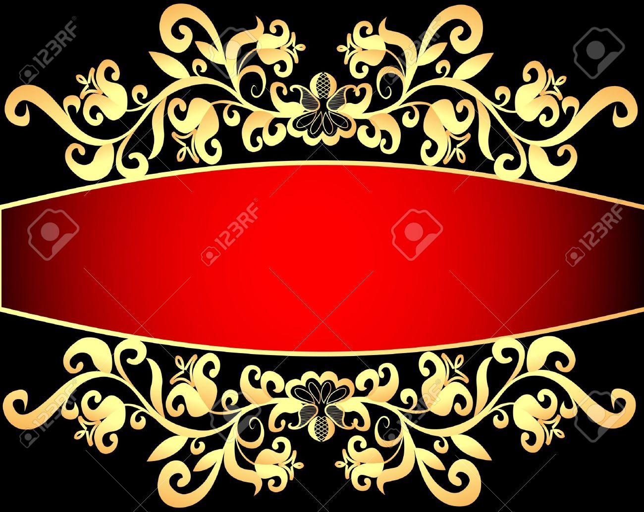 illustration red background frame with vegetable gold(en) pattern Stock Vector - 13550071