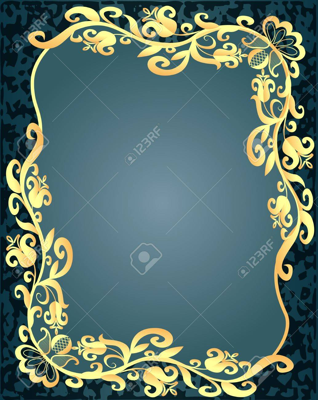 illustration spotted background frame with vegetable gold(en) pattern Stock Vector - 13550074