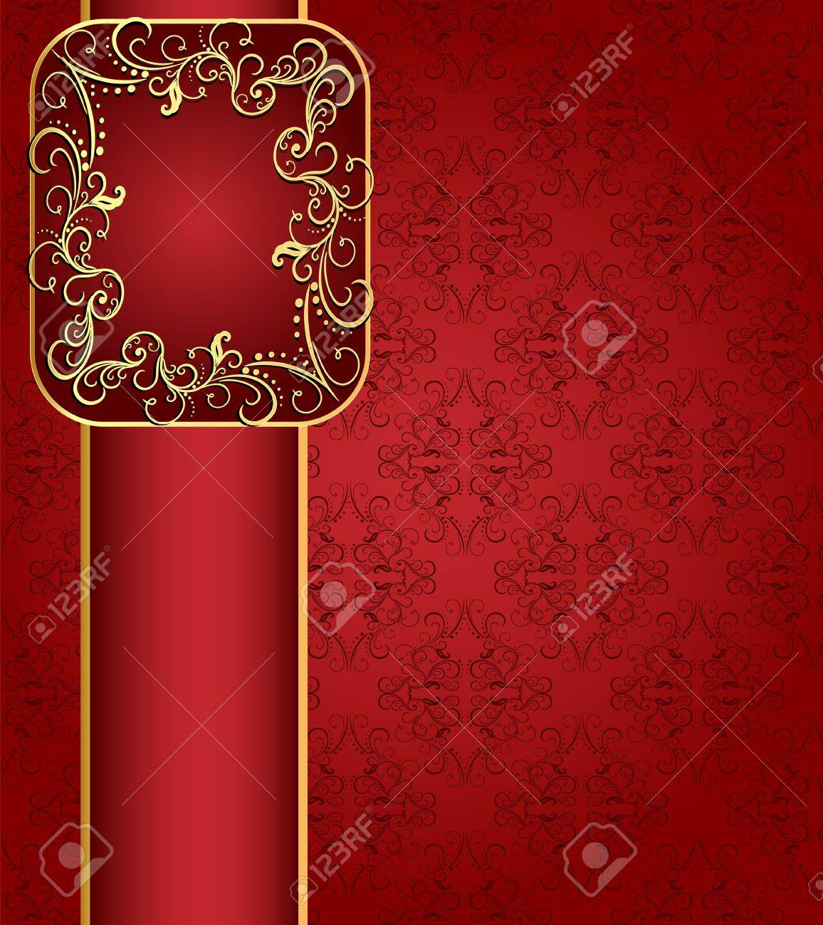 illustration seamless red background with band and frame with gold(en) pattern Stock Vector - 13594571