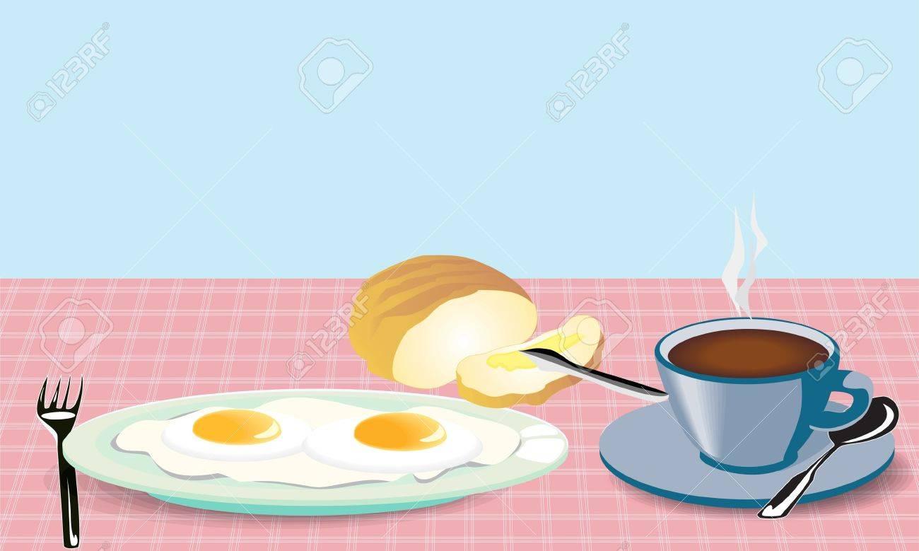 illustration morning meal fried eggs coffee and bread with mask Stock Vector - 14471891
