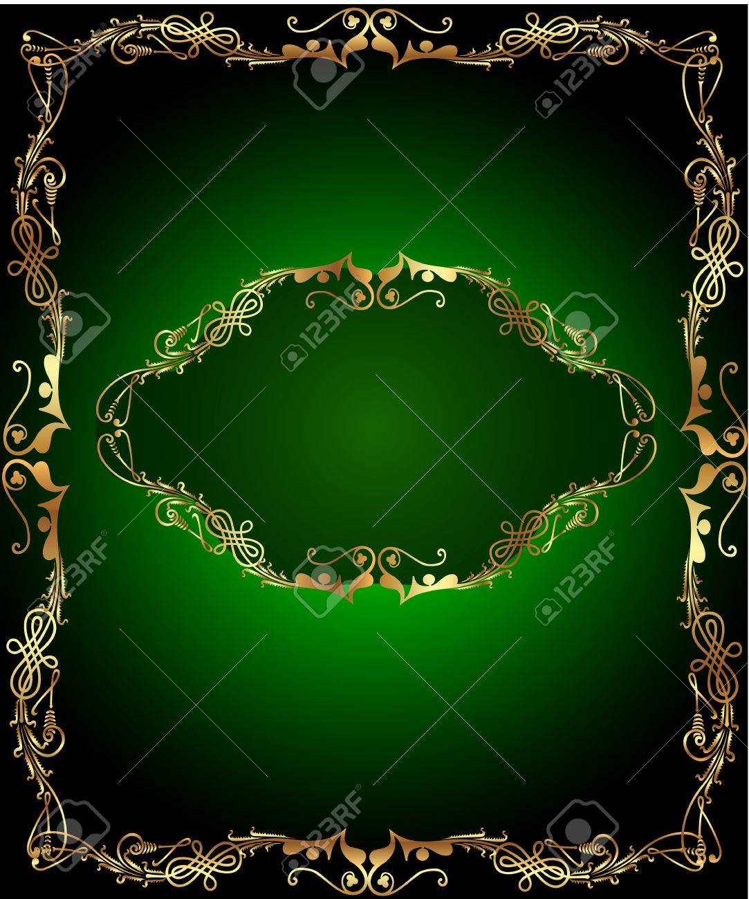 illustrations frame green background with vertical gold(en)(en) sample Stock Vector - 14511887