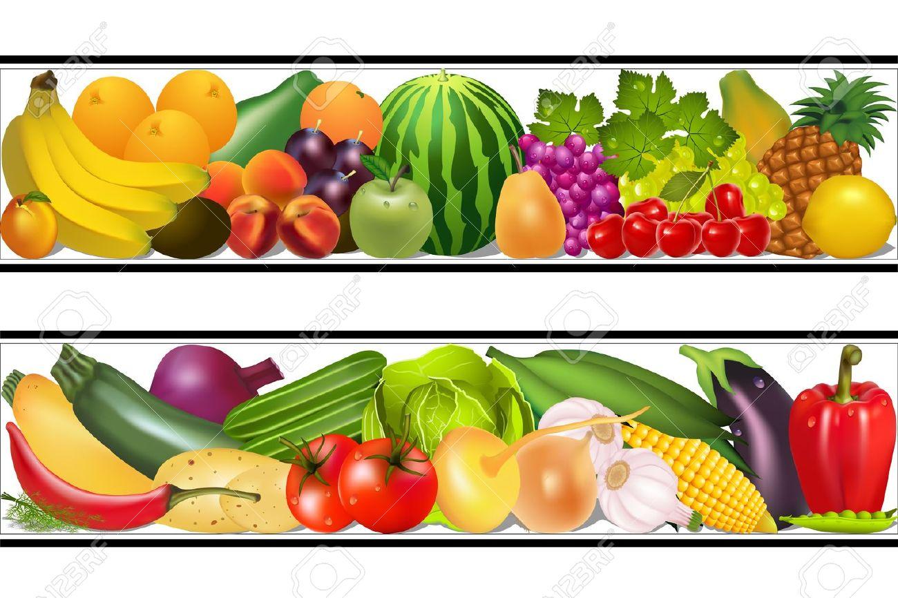 Illustration Set Essen Gemüse Und Früchte Malen Vector Feuchten