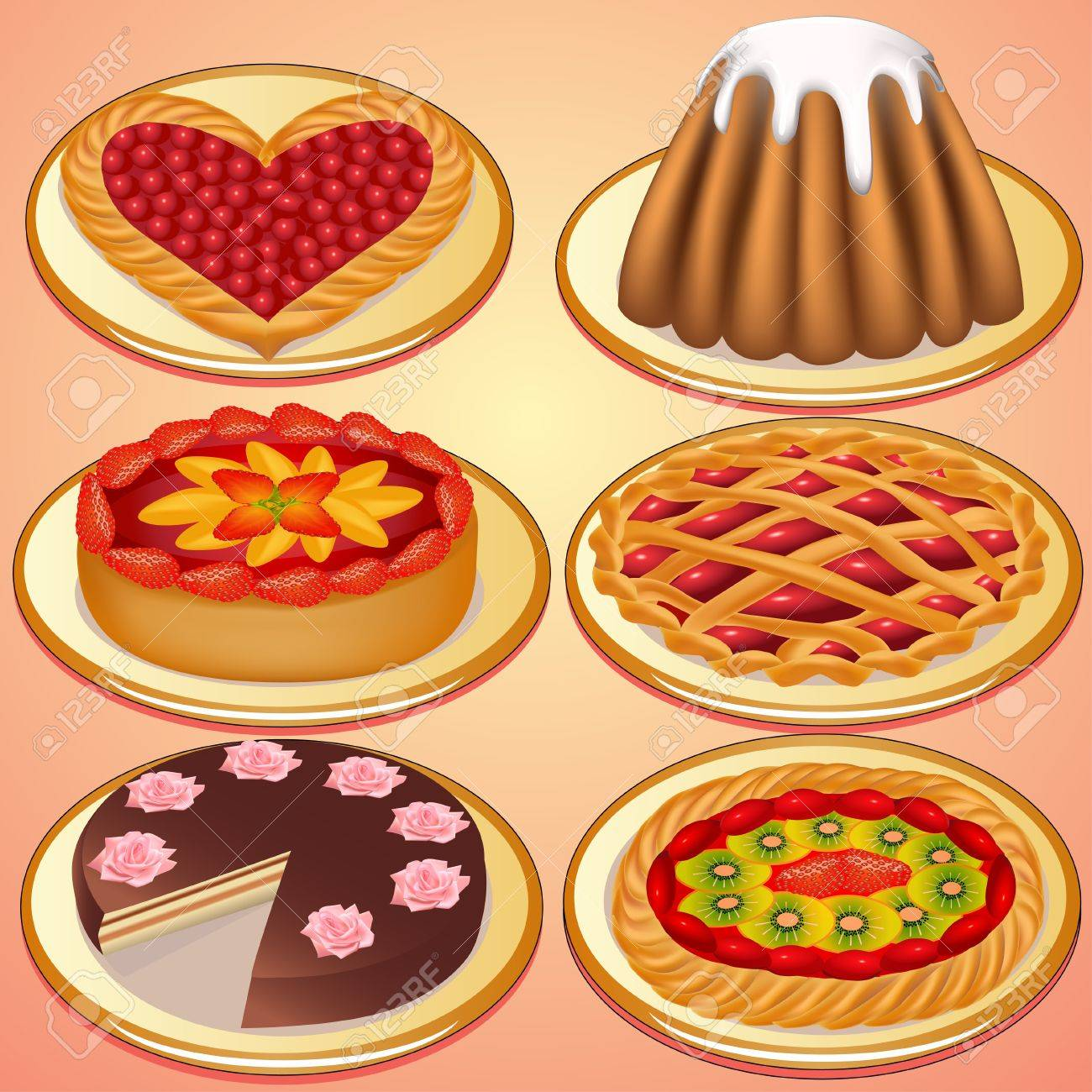 illustration set cake and pie with strawberries cherry Stock Vector - 15503522