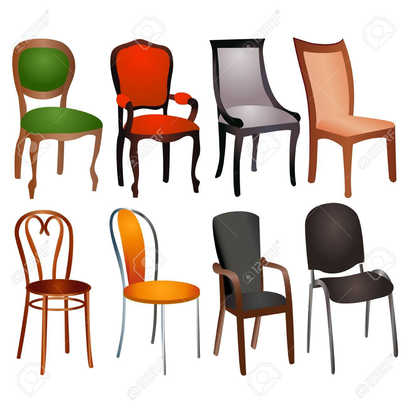 Illustration Set Of Different Chairs For Home And Office Royalty ...