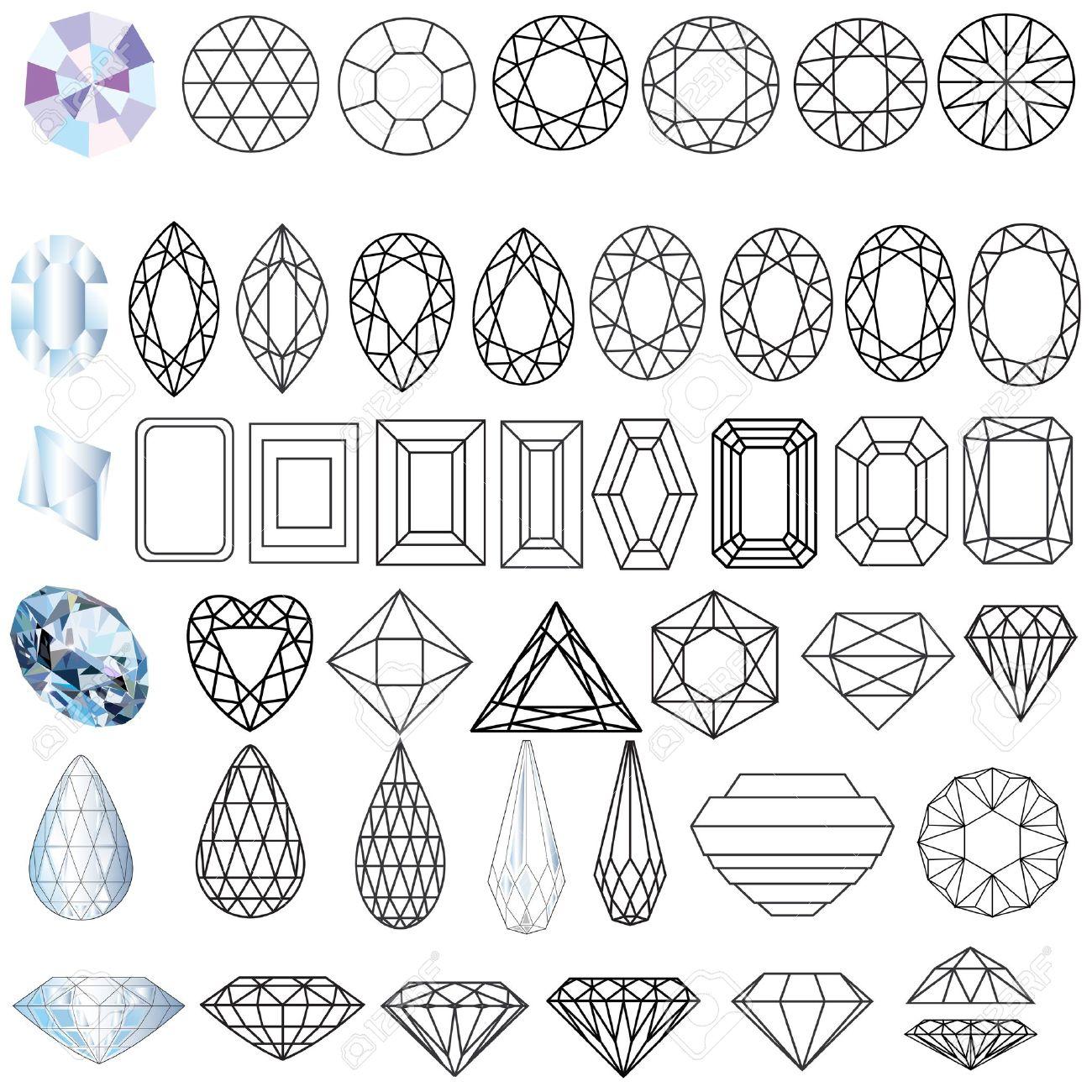 イラスト カット フォームの貴重な宝石石のセットのイラスト素材ベクタ