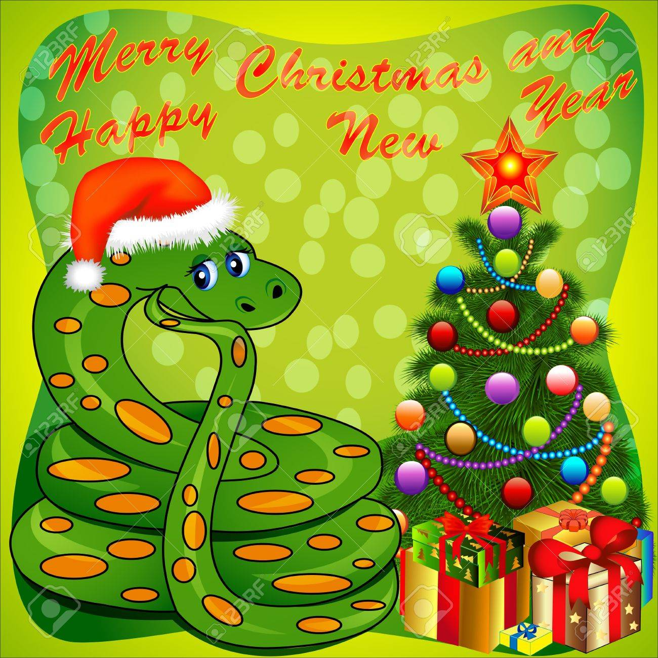 illustration of a Christmas tree and a snake with gifts on green Stock Vector - 16724492