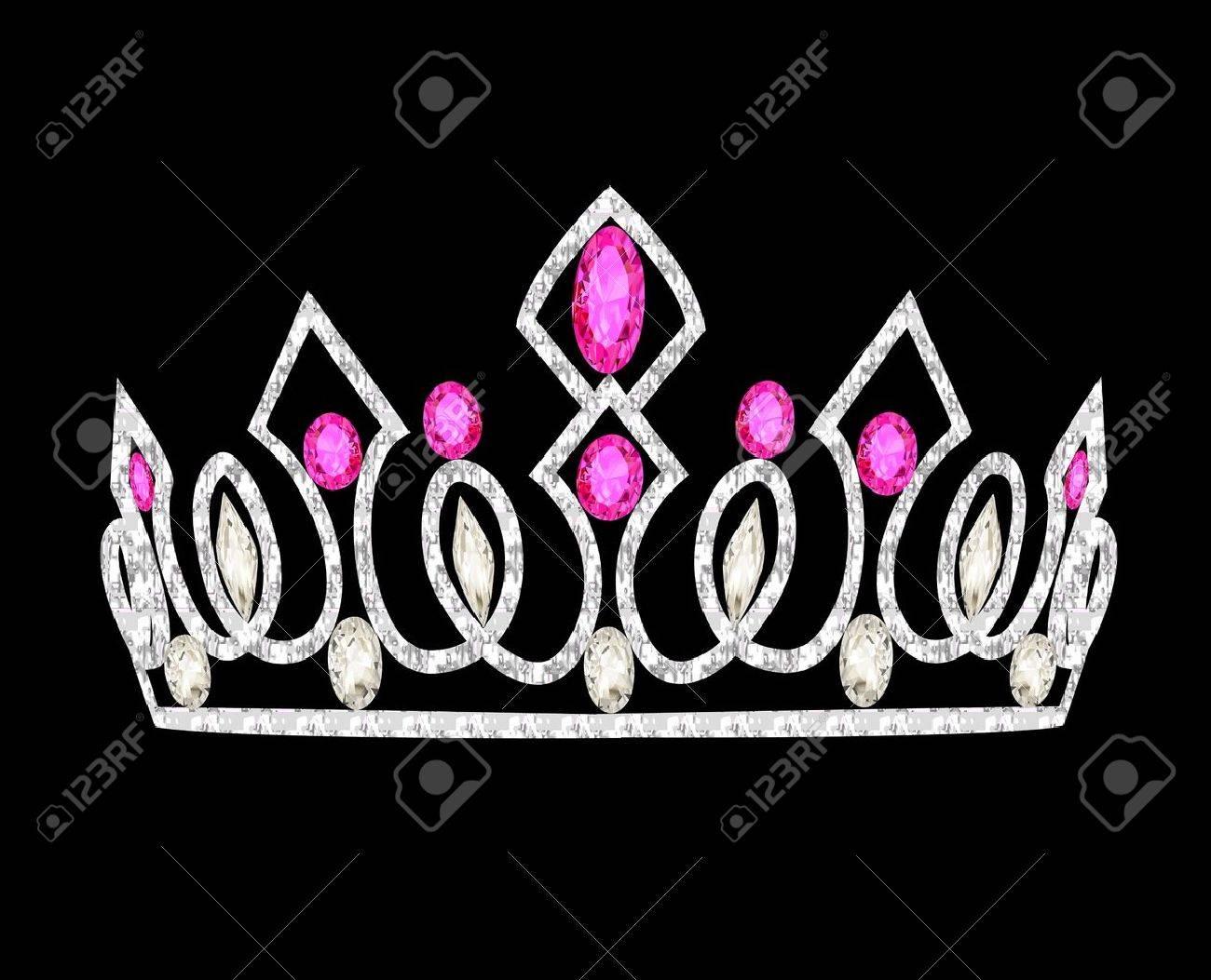 illustration tiara crown women's wedding with pink stones Stock Vector - 17309267