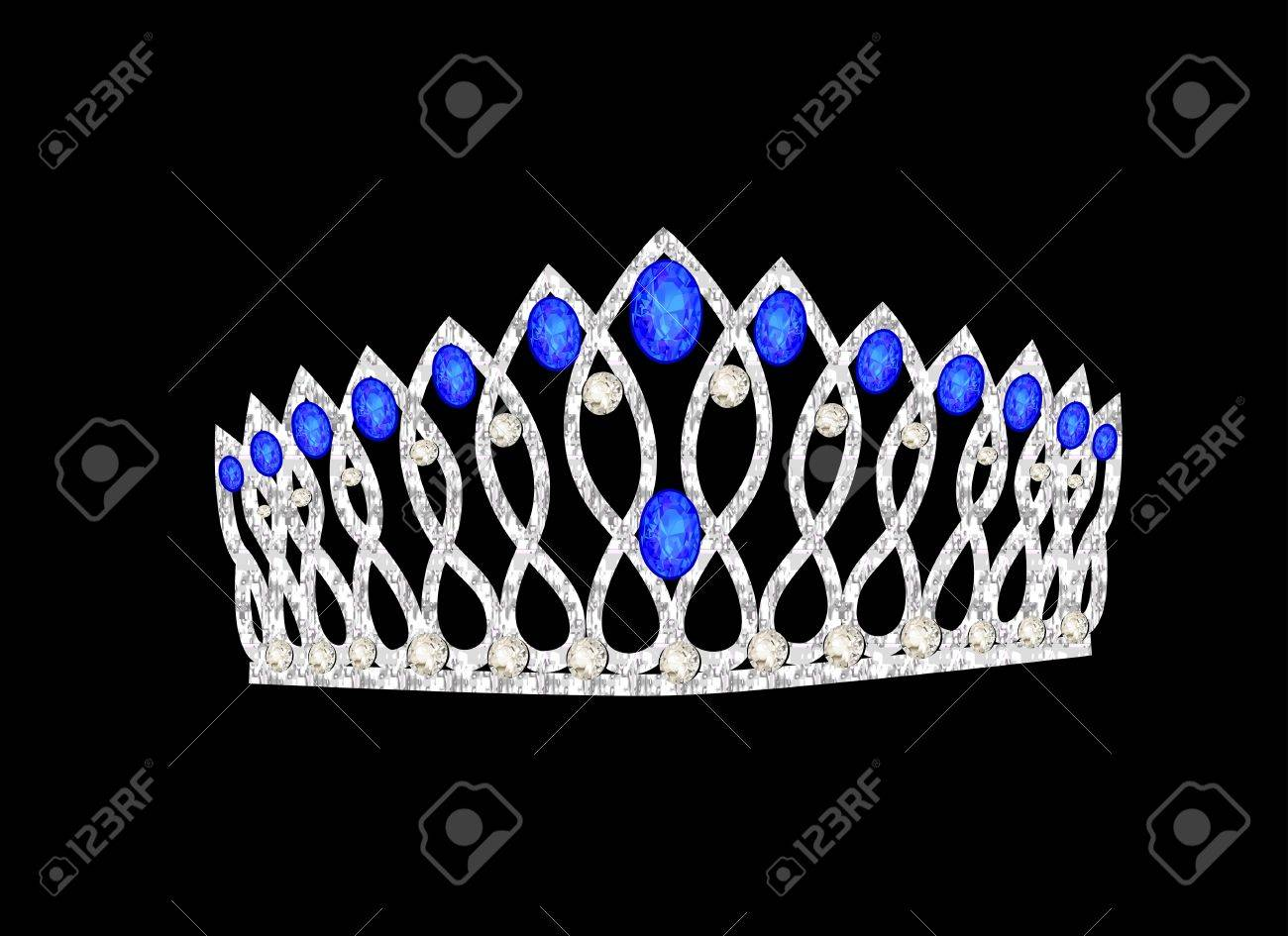 illustration tiara crown women's wedding on the black Stock Vector - 17309266