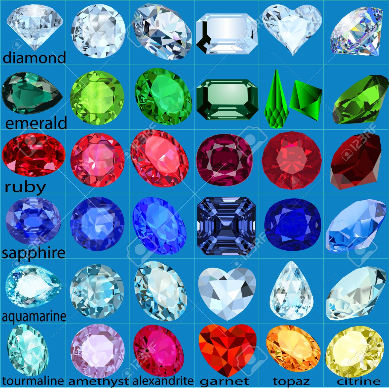 illustration set of precious stones of different cuts and colors Stock Vector - 17418582