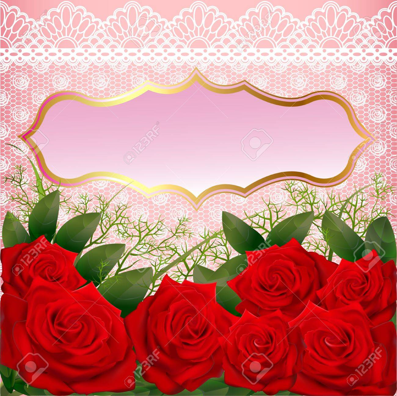 illustration background with red roses and lace Stock Vector - 17472106