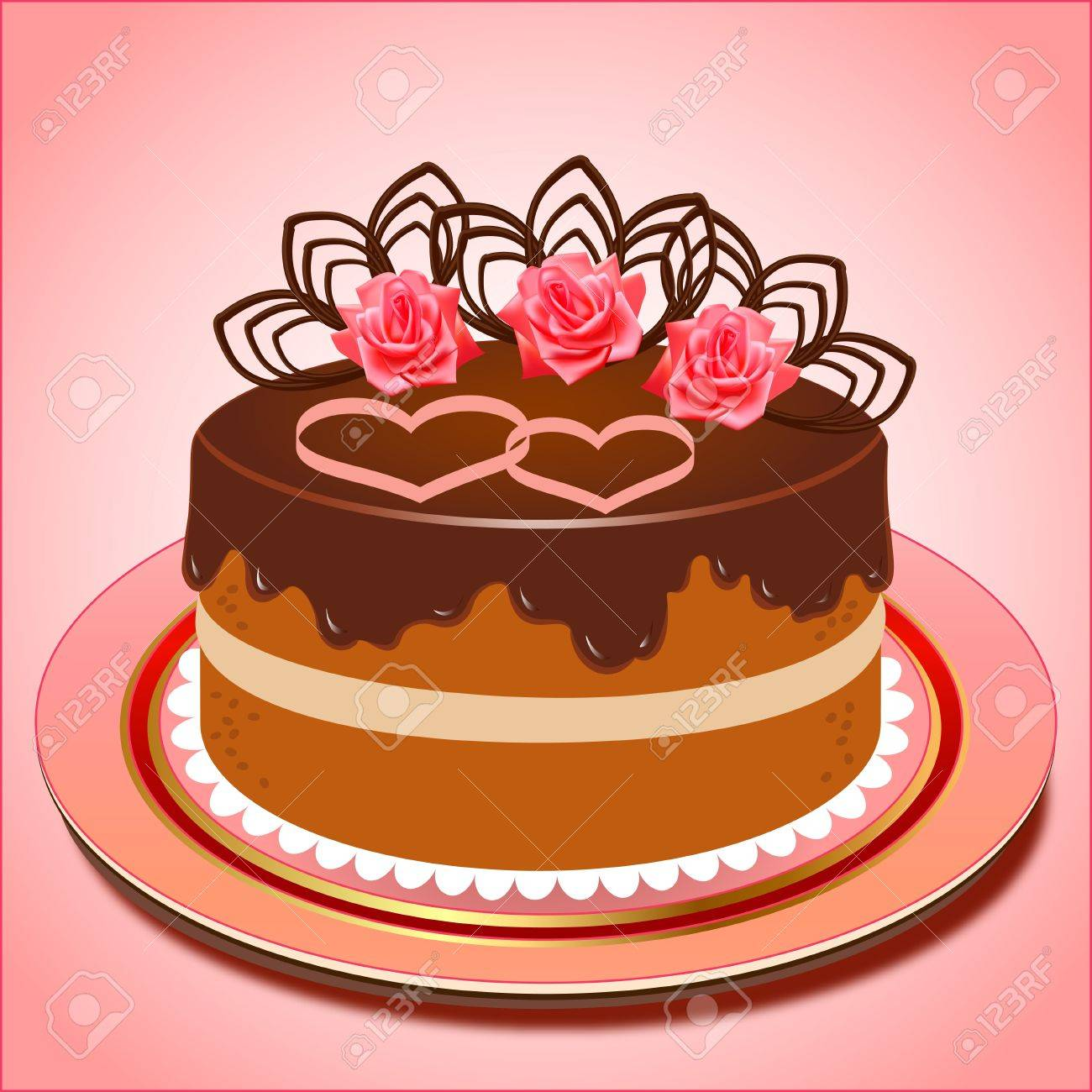 illustration of chocolate cake with hearts and roses Stock Vector - 17550259