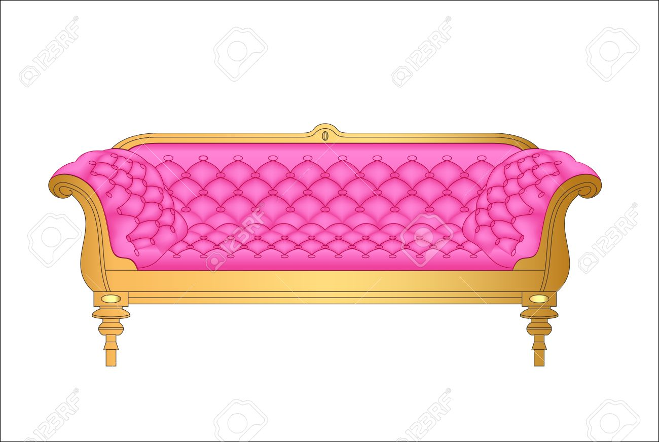 Completely new Illustration Of A Pink Vintage Sofa On White Royalty Free Cliparts  DQ23