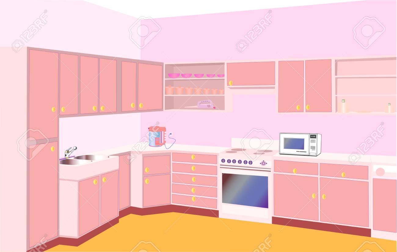 illustration furniture on kitchen by set modern Stock Vector - 17876869