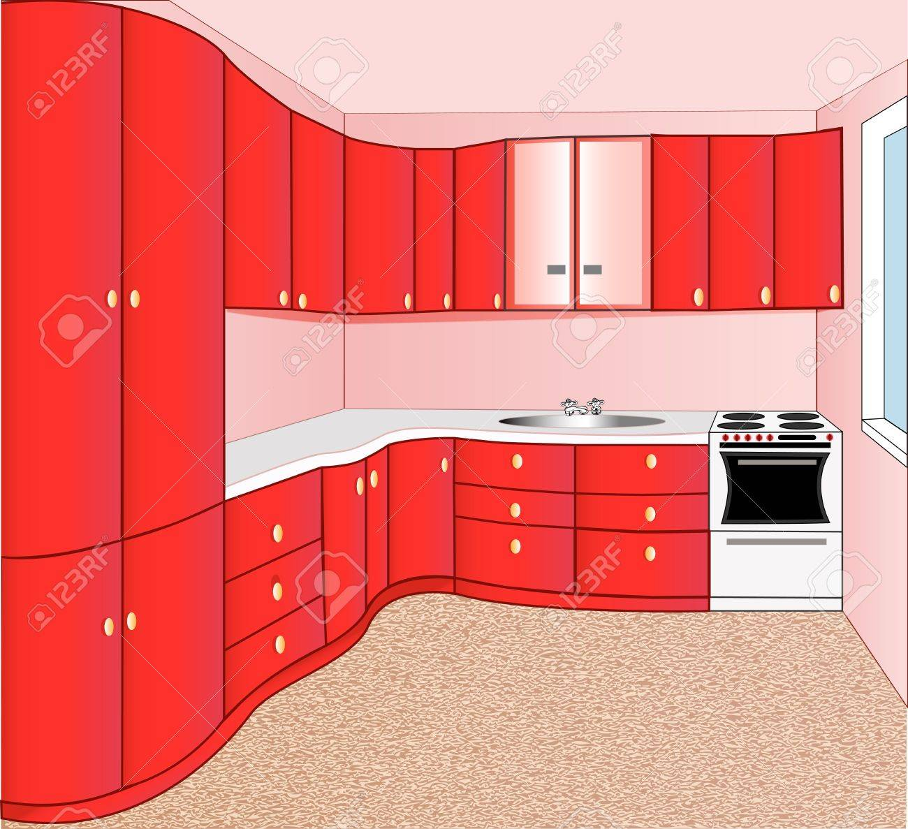 illustration of the interior of the kitchen red Stock Vector - 18552733
