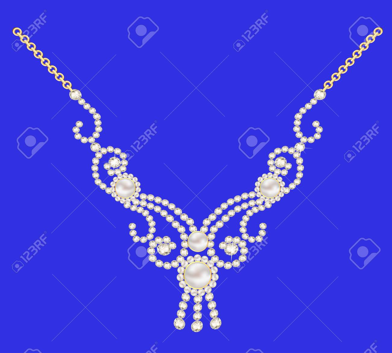 illustration necklace women for marriage with pearls and precious stones on a dark blue background Stock Vector - 18732509