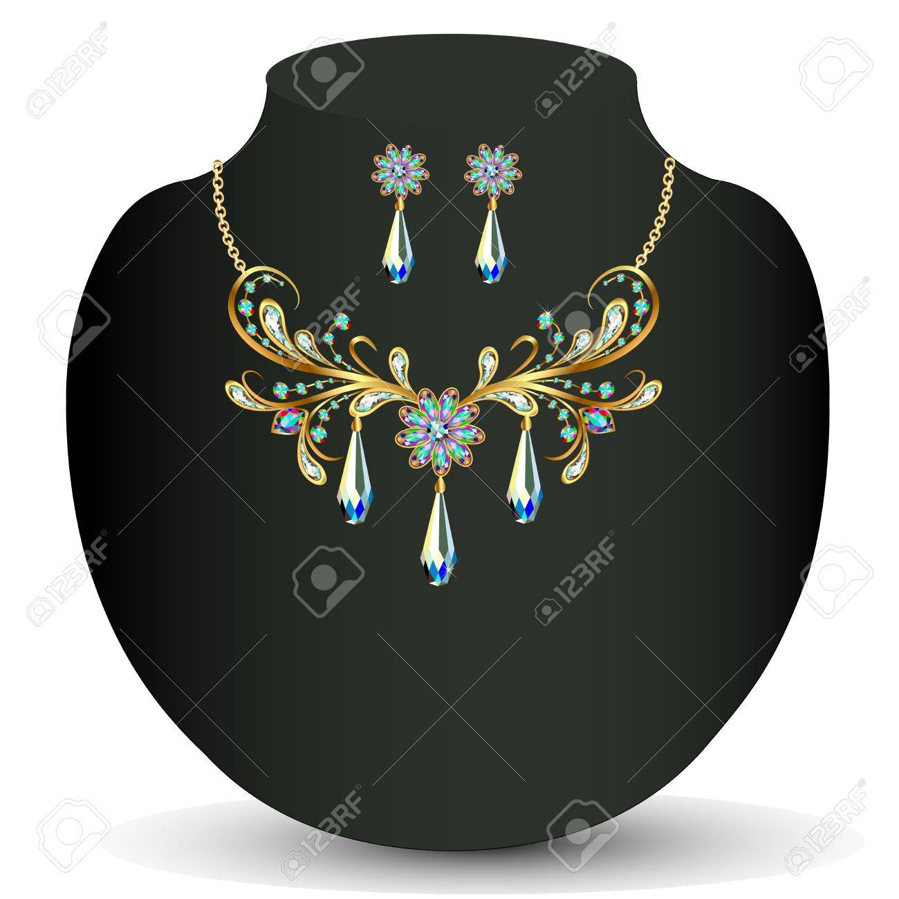 illustration of a Golden necklace and earrings women's wedding with precious stones Stock Vector - 20212543