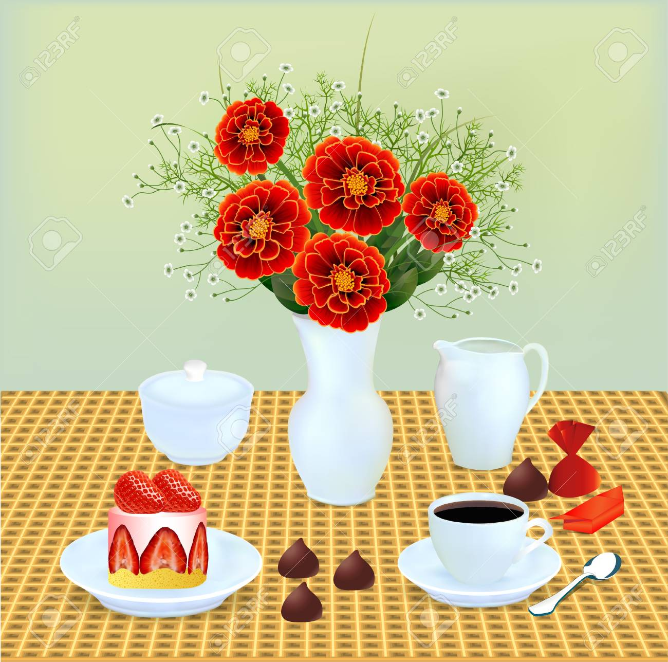 Illustration of a still life with a bouquet of chocolates and coffee dessert Stock Vector - 21025967