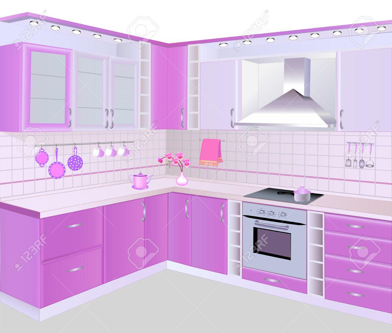 22151262 ilustraci n interior de la cocina con muebles de color rosa y azulejos foto de archivojpg - Racholas De Bao