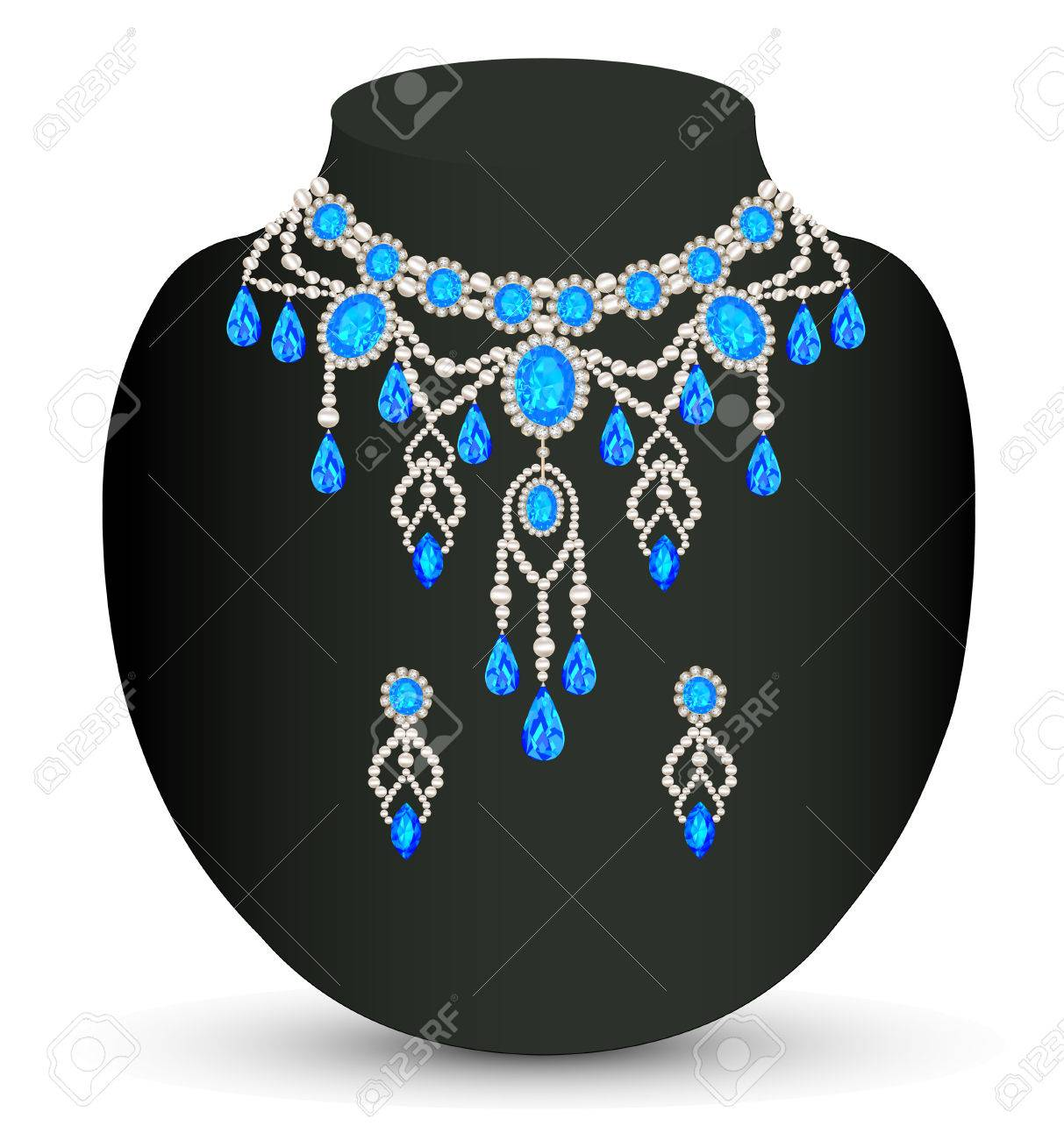 illustration jewelry female necklace and earrings with blue jewels Stock Vector - 23902629