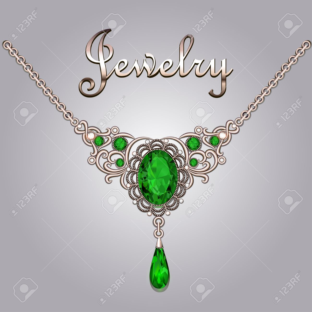 Pendant necklace with precious stones and filigree jewelry lettering. Vintage  jewelry background Stock Vector -