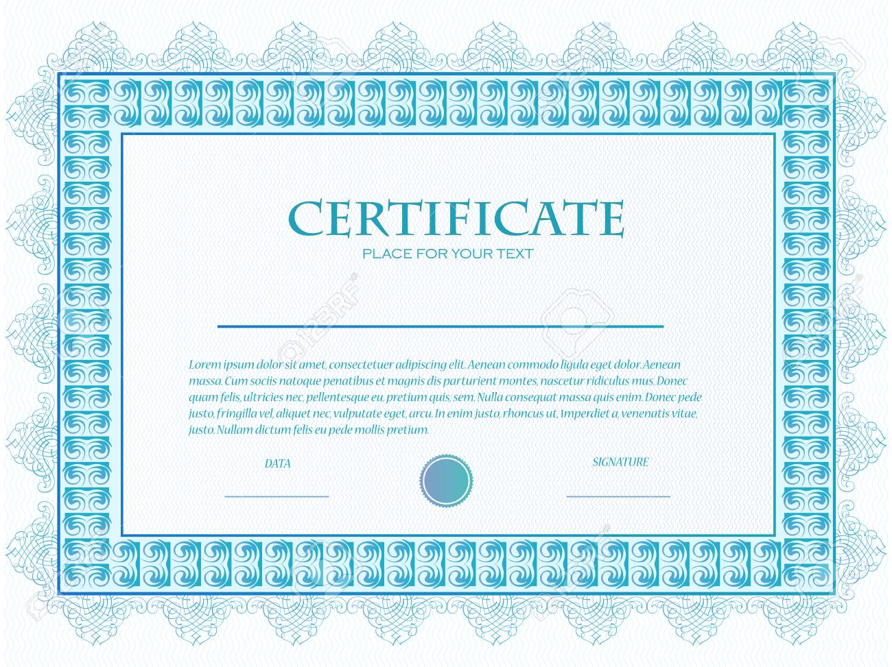 illustration of a custom certificate template with guilloche stock vector 79330351 - Customizable Certificate Template