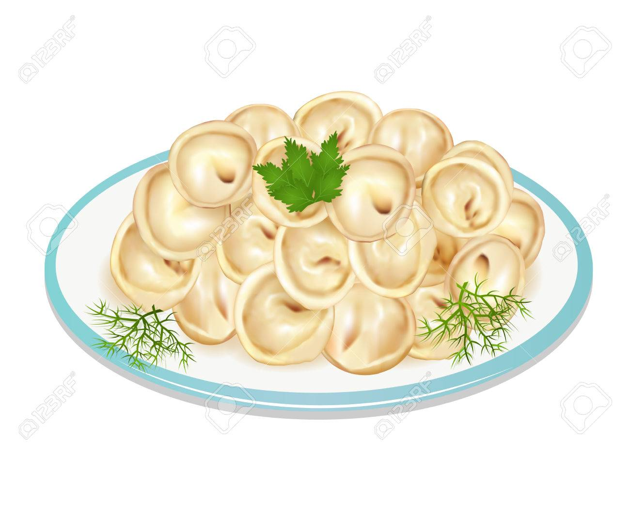 皿の上の餃子のイラストのイラスト素材ベクタ Image 85346790
