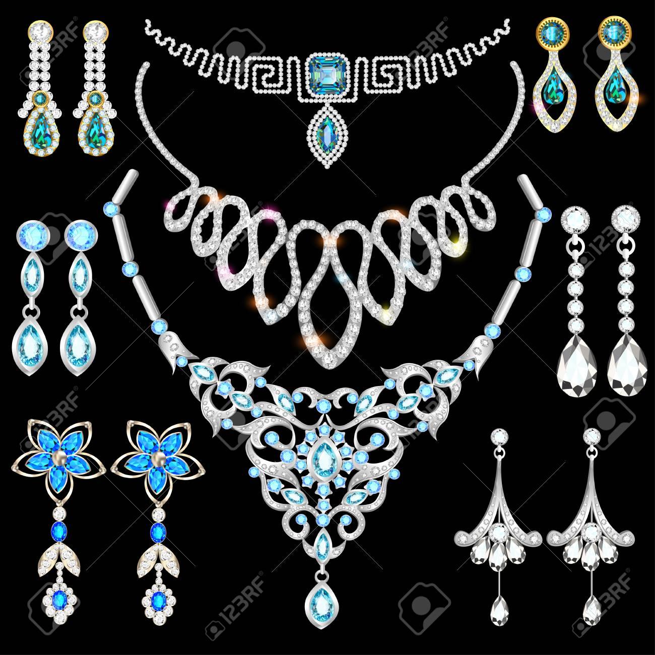 83bb0f43673b Ilustración conjunto de joyas de oro y piedras preciosas, pendientes,  collar, colgantes