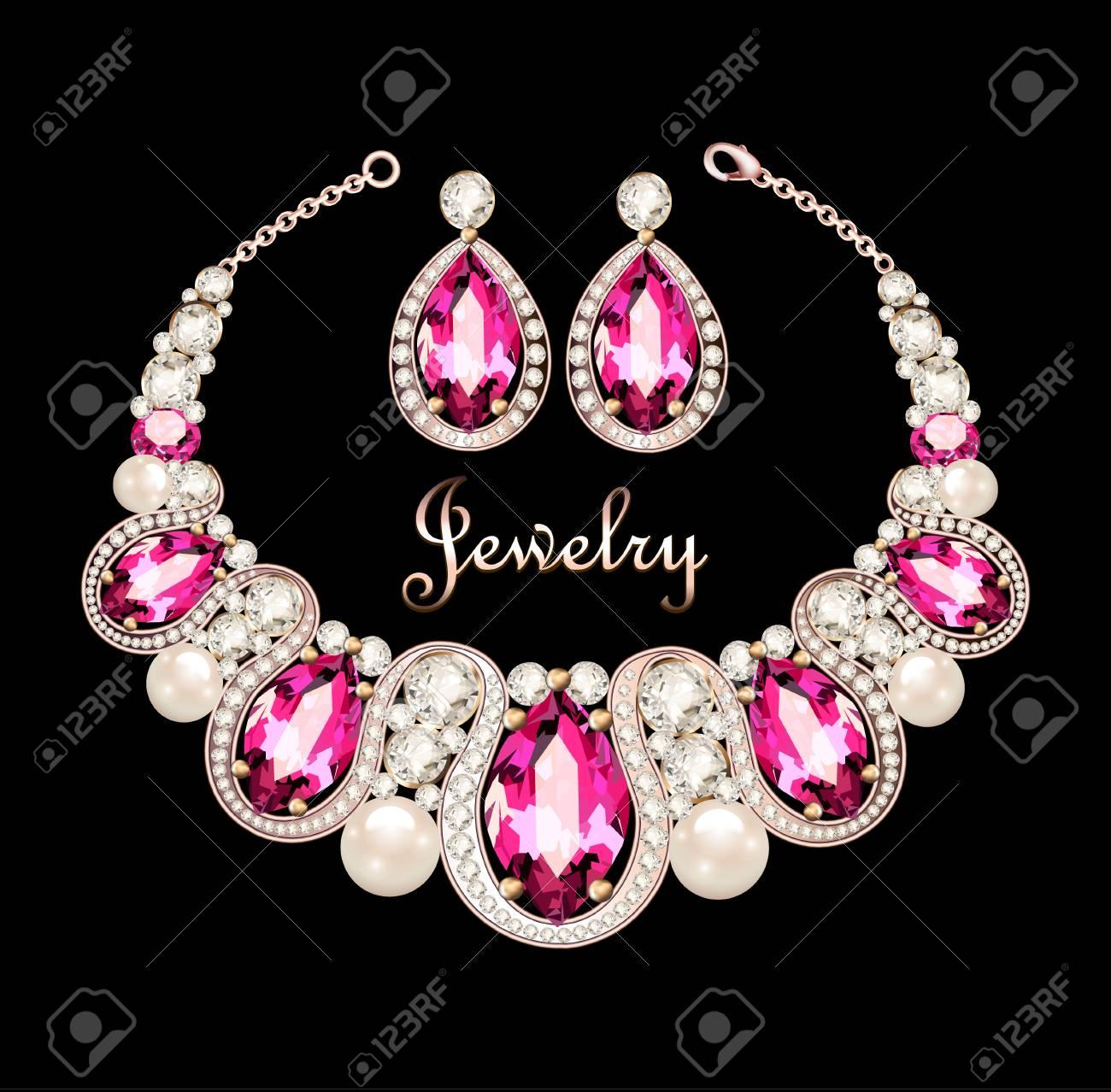 8f7809a9c97a Ilustración de un conjunto de joyas collar y pendientes con una hembra con  piedras preciosas de color rosa