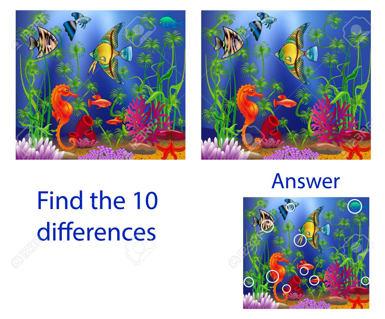 Children's illustration Visual Puzzle: find ten differences from the fish in the sea - 121408954