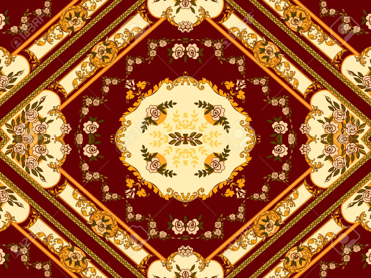 Illustration Of A Bright Multicolored Carpet With Floral Ornaments ...