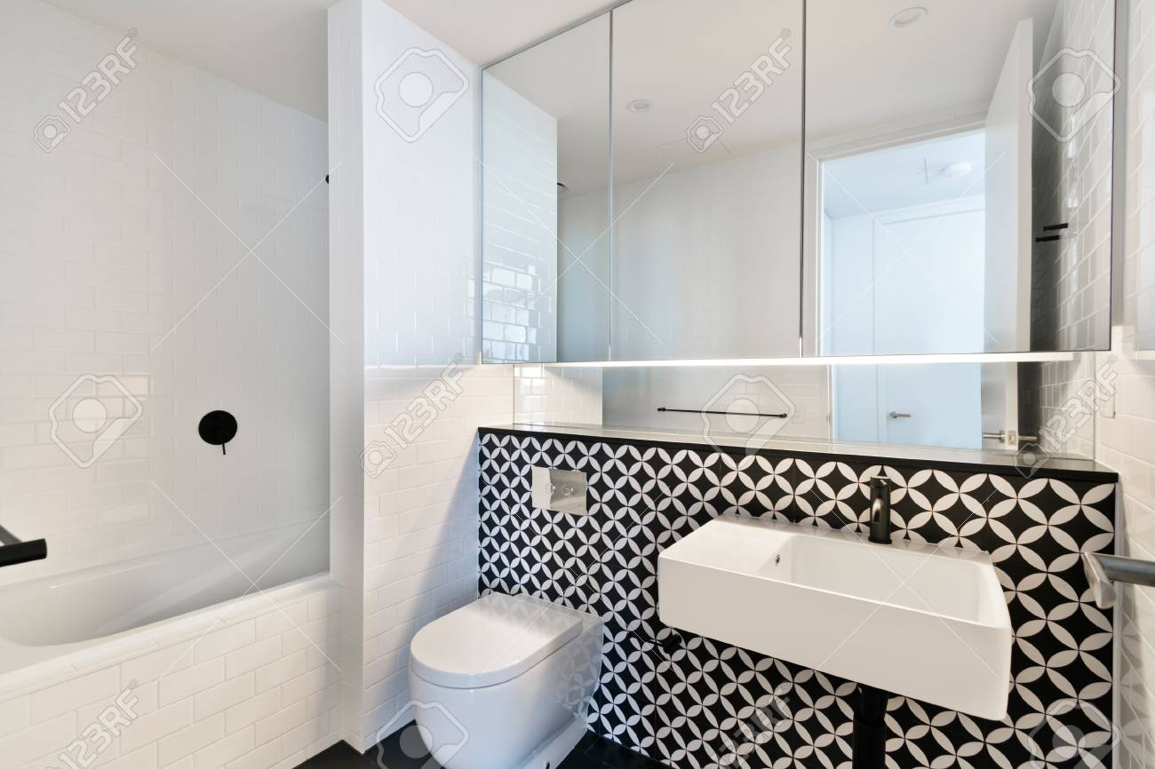 Stylish Clean Bathroom With Shower And Bath Tub Stock Photo, Picture ...