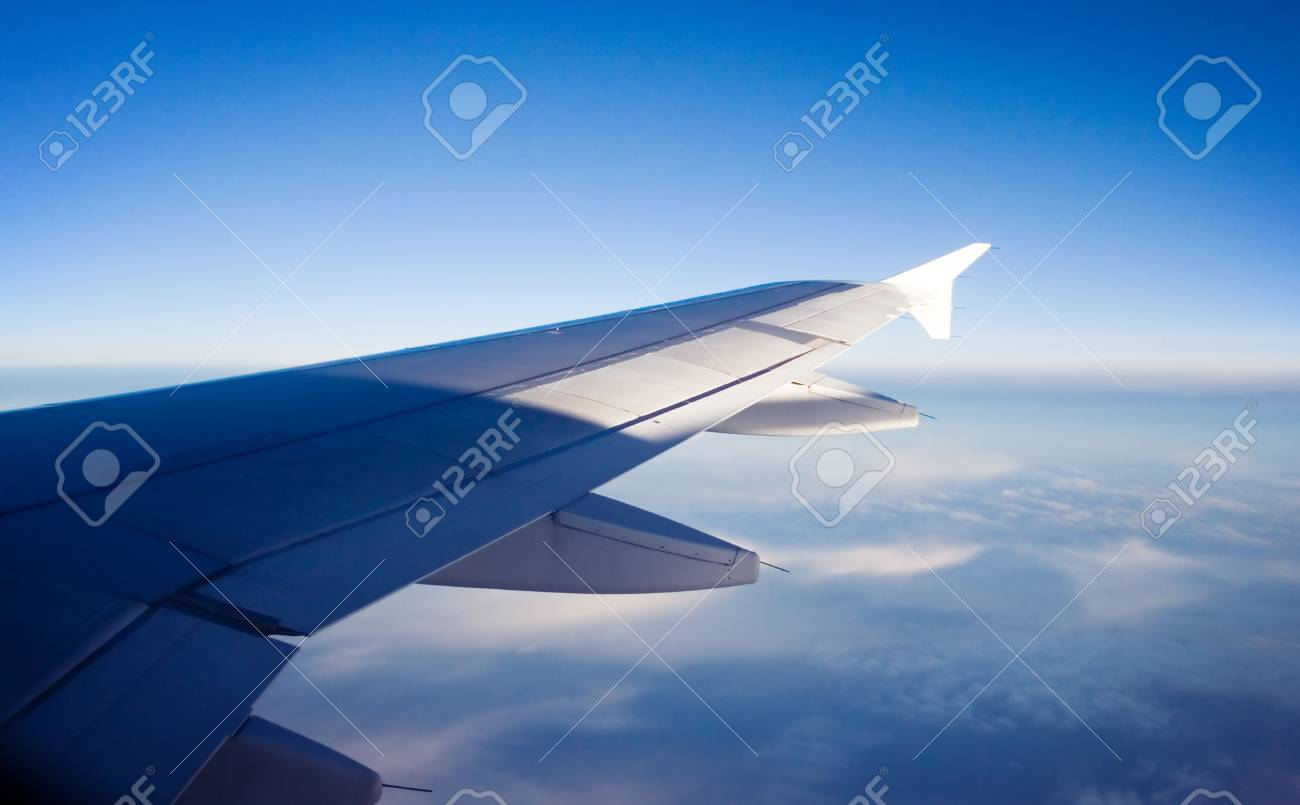 sky view from aircraft window Stock Photo - 558121