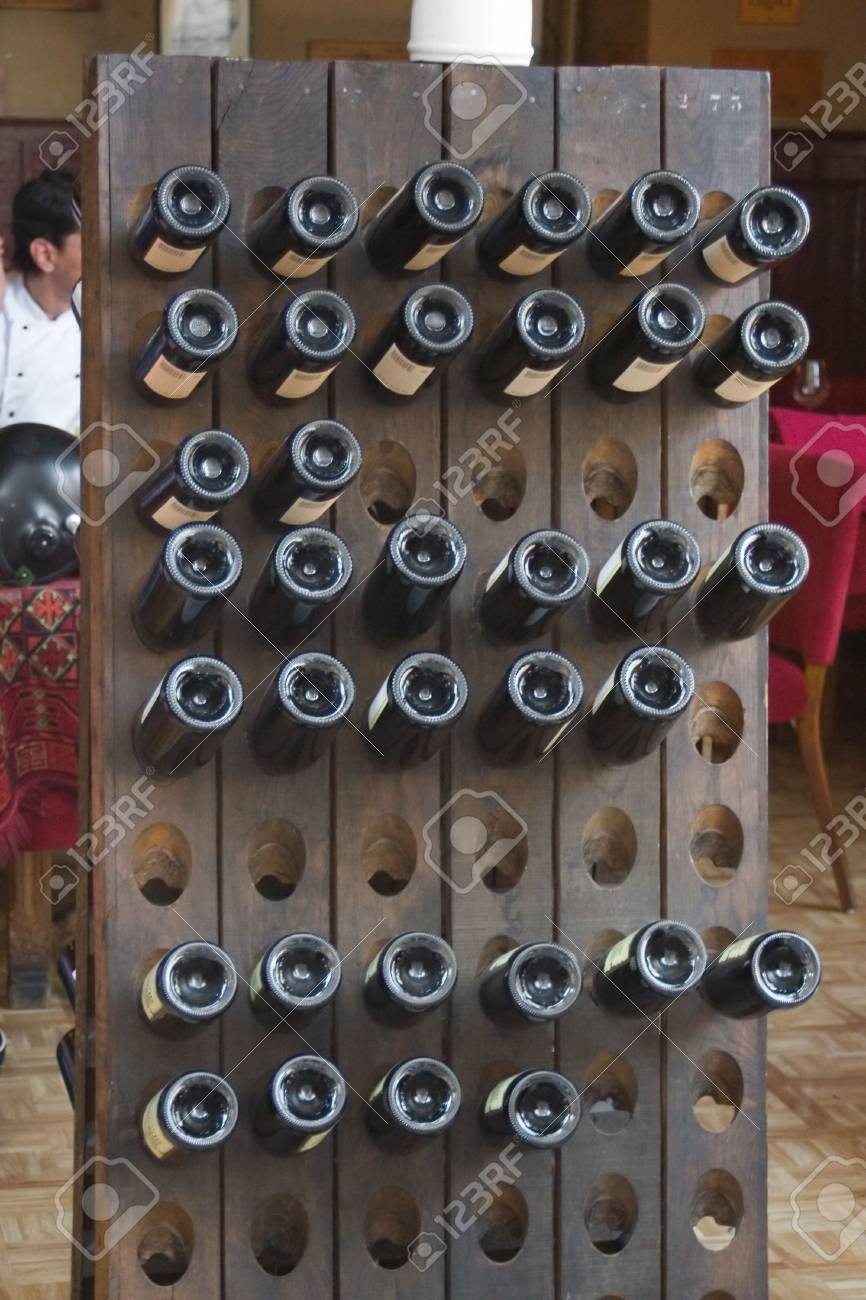 wooden winerack in the restorant Stock Photo - 563576