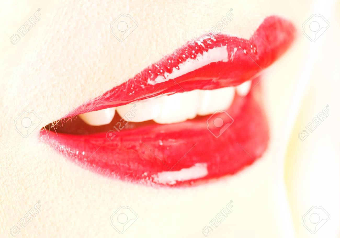 extreme close up of red glossy lips, shallow DOF Stock Photo - 2739839