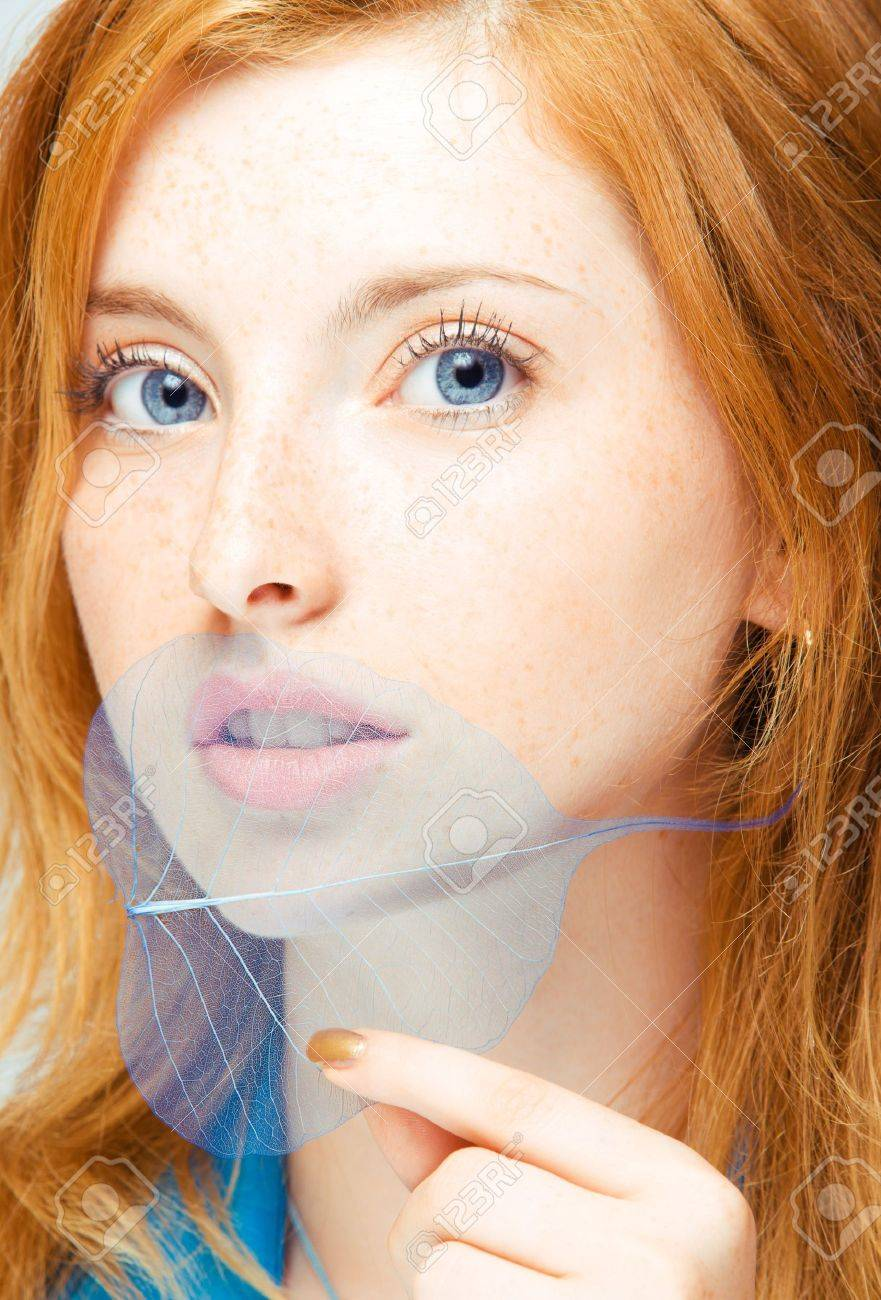 close up portrait of young redhead woman - 5079059