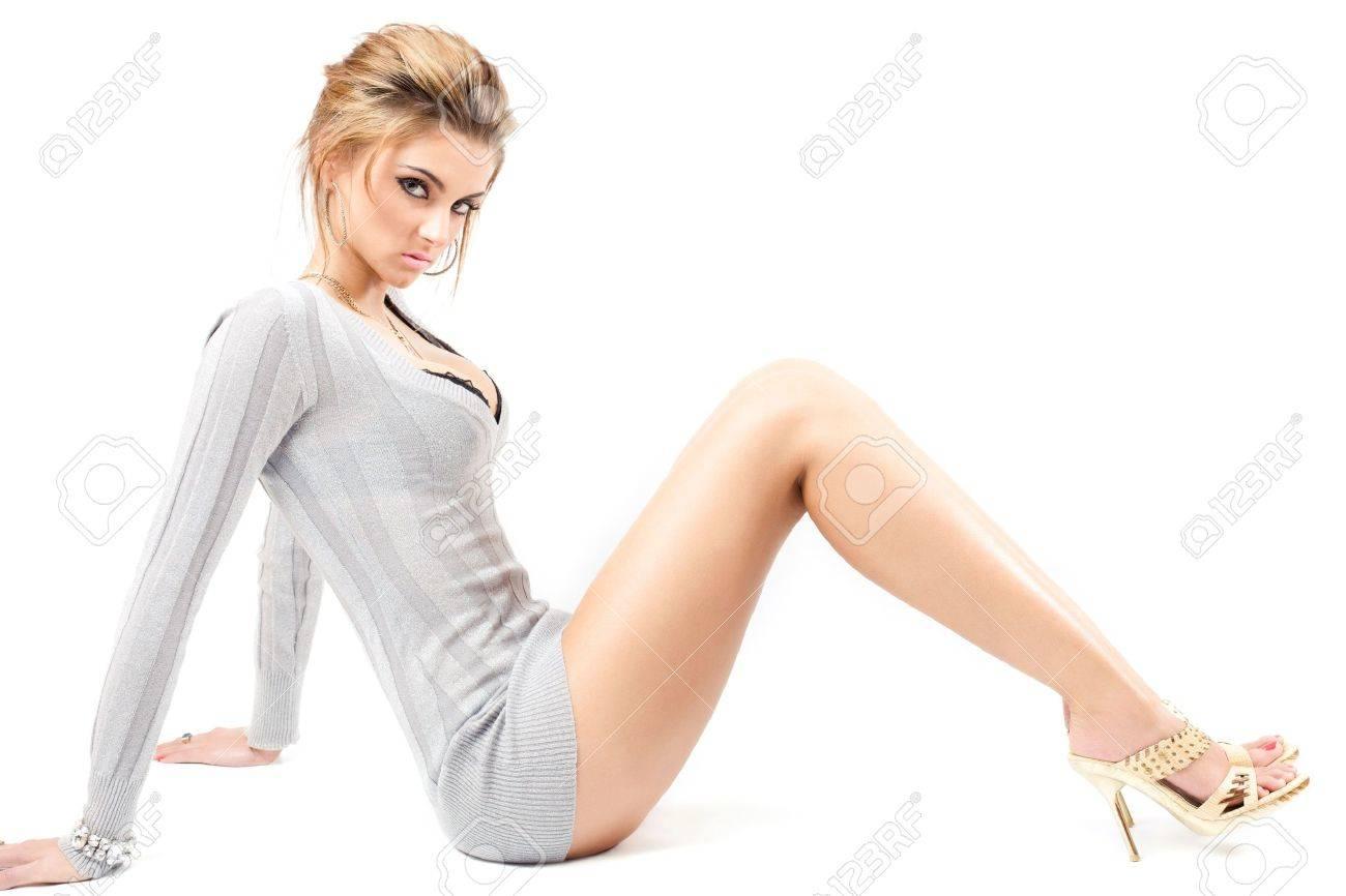 young beautiful model posing, over white, studio shot Stock Photo - 5427318