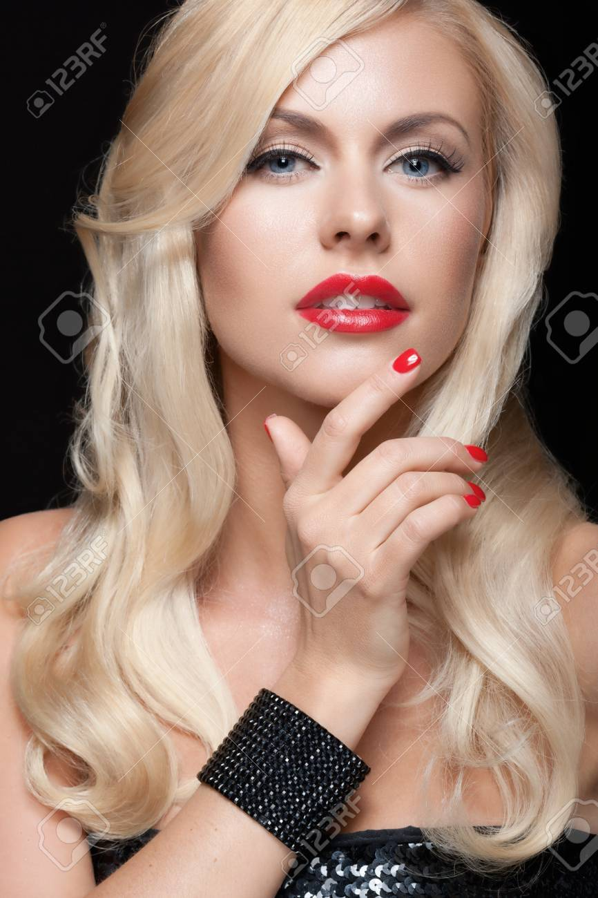 studio portrait of young beautiful blond model Stock Photo - 23183369