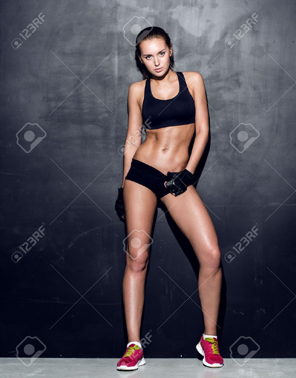 Attractive Fitness Woman Trained Female Body Lifestyle Portrait