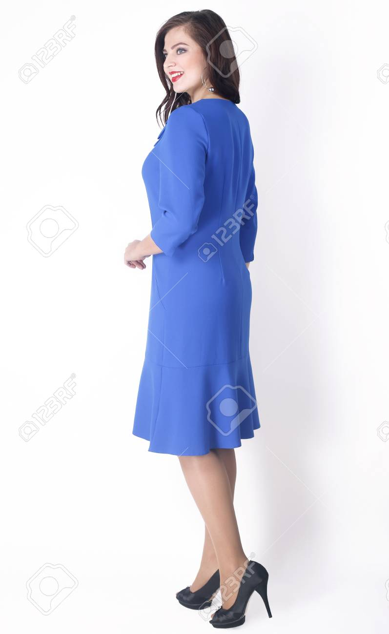 Side View. Stylish Female Model In The Blue Dress .plus Size. Stock ...