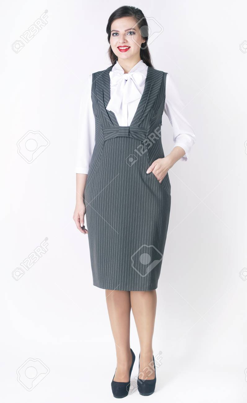 side view. stylish female model in business dress .plus size.