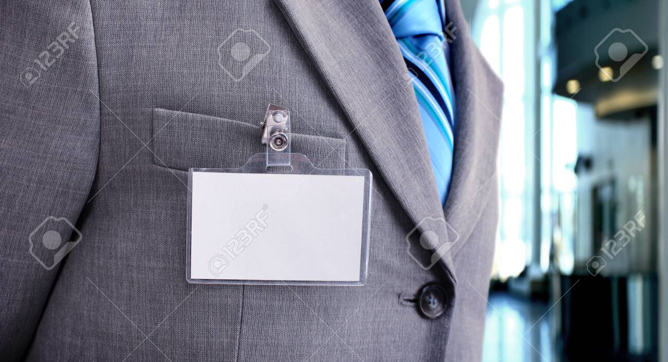 White Blank Badge on mens torso - 142961333