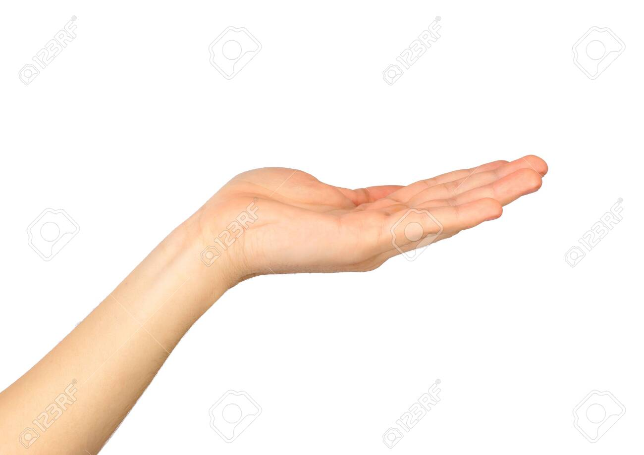 Female hand on a white background - 143163325