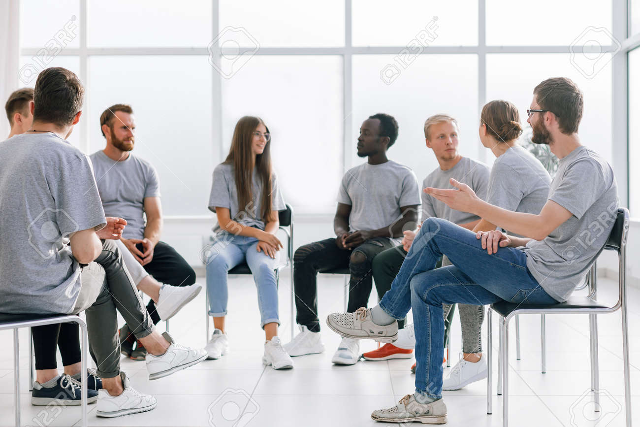 group of young like-minded people discussing their ideas - 157403252