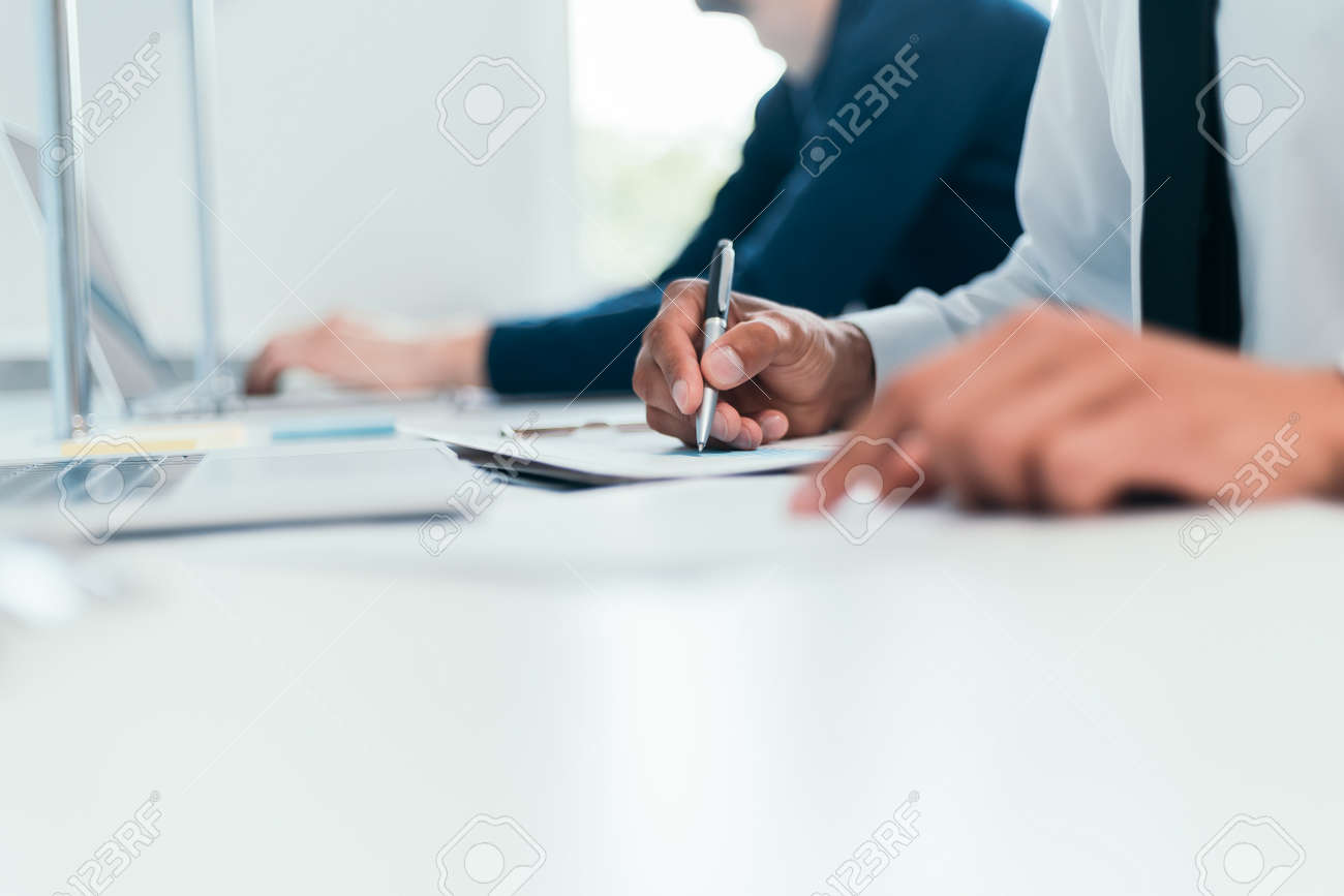 close-up. image employees work with financial documents. - 165724528